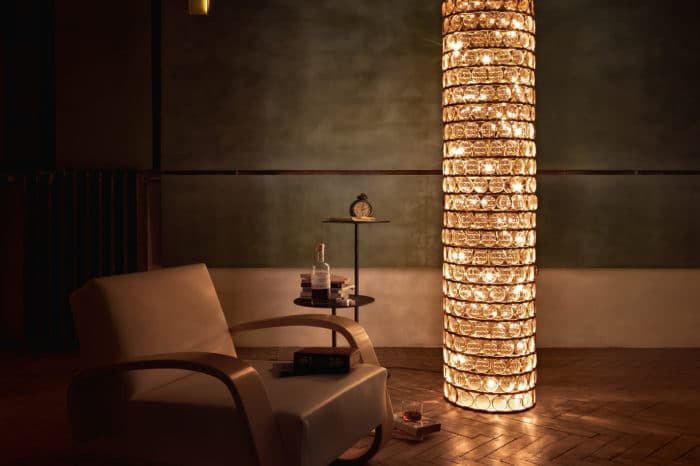 Viabizzuno floor lamp da ma terra colonna natural brass with biconcave lenses