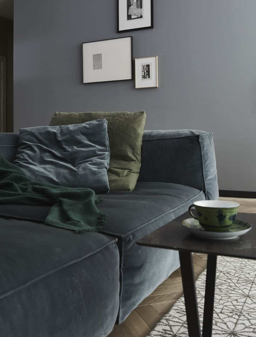 Blue sofa and coffee table