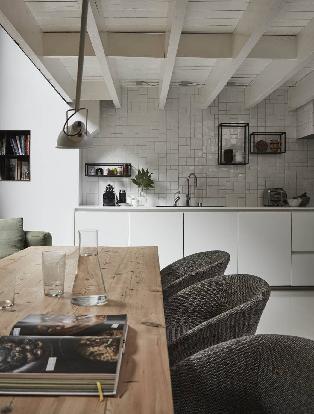 wooden dining table in kitchen